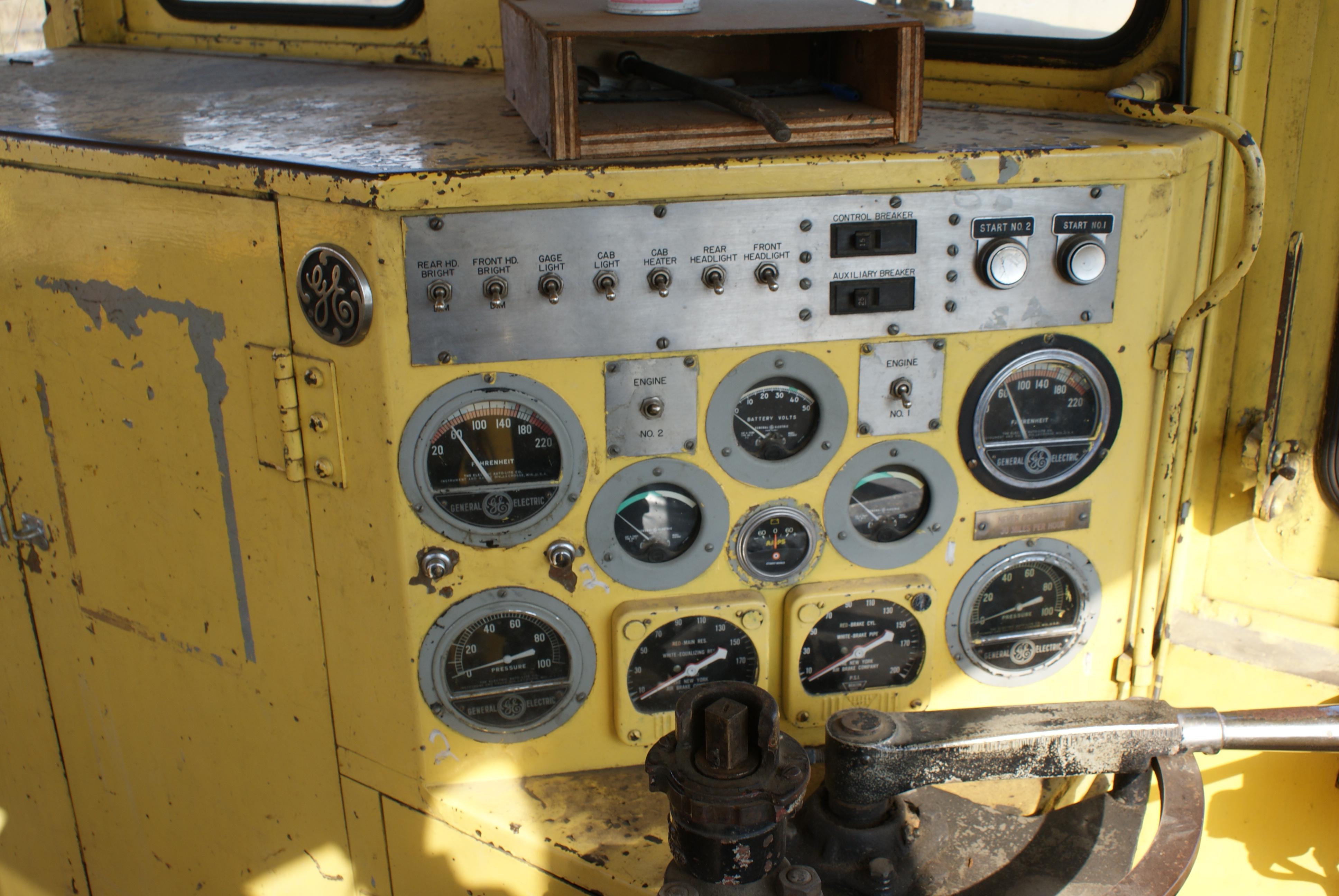 GE gauges to control a railway locomotive at a museum near Saskatoon, Canada<!-- cite web -->