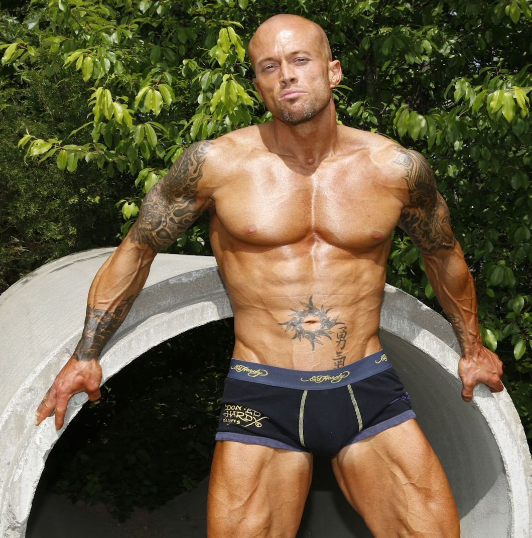 Description Male Underwear Model John Quinlan in Ed Hardy.jpg