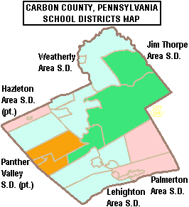 Map of Carbon County, Pennsylvania Public School Districts