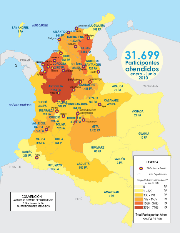 Mapa atendidos (junio de 2010).