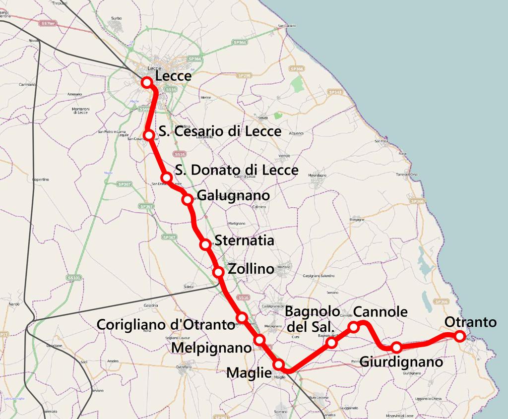 Otranto Italy Map.Lecce Otranto Railway Wikipedia