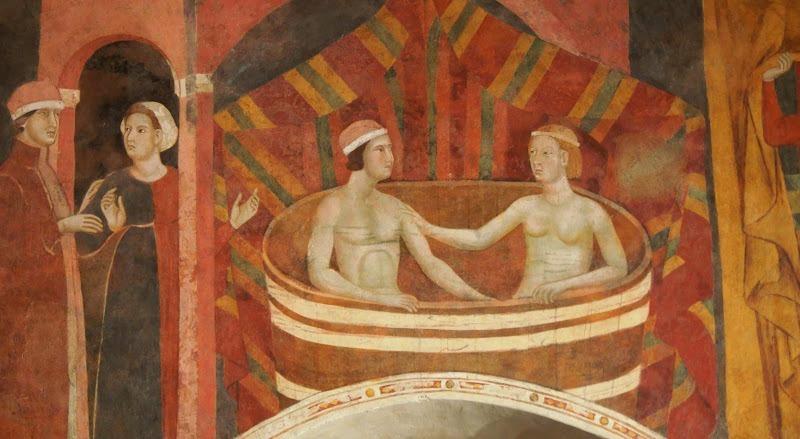 Memmo di Filippuccio (1250-1325) - gli sposi al bagno - Ciclo di affreschi la culla dell'amore: il matrimonio