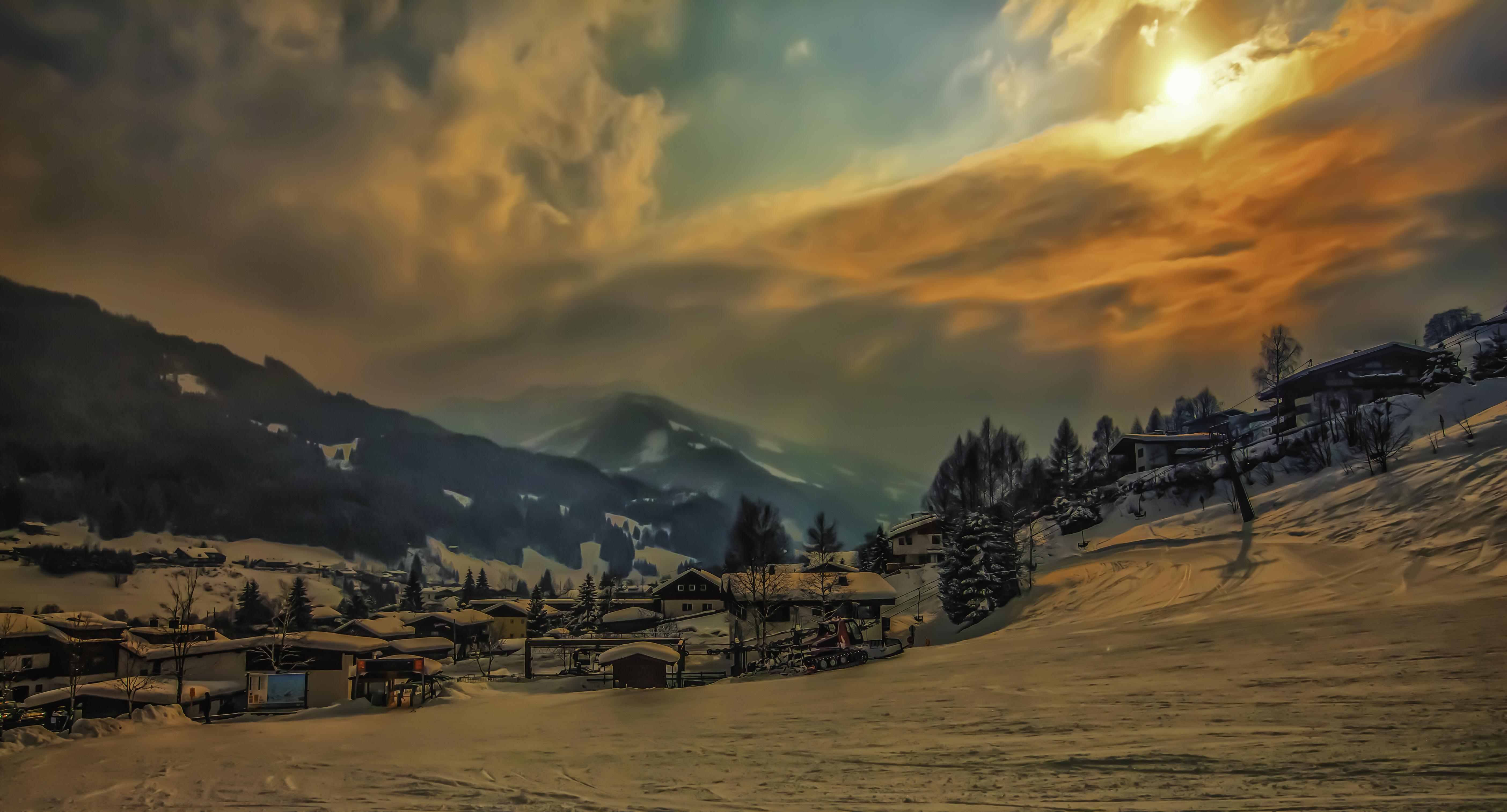 деревня зима горы  № 3188460 бесплатно