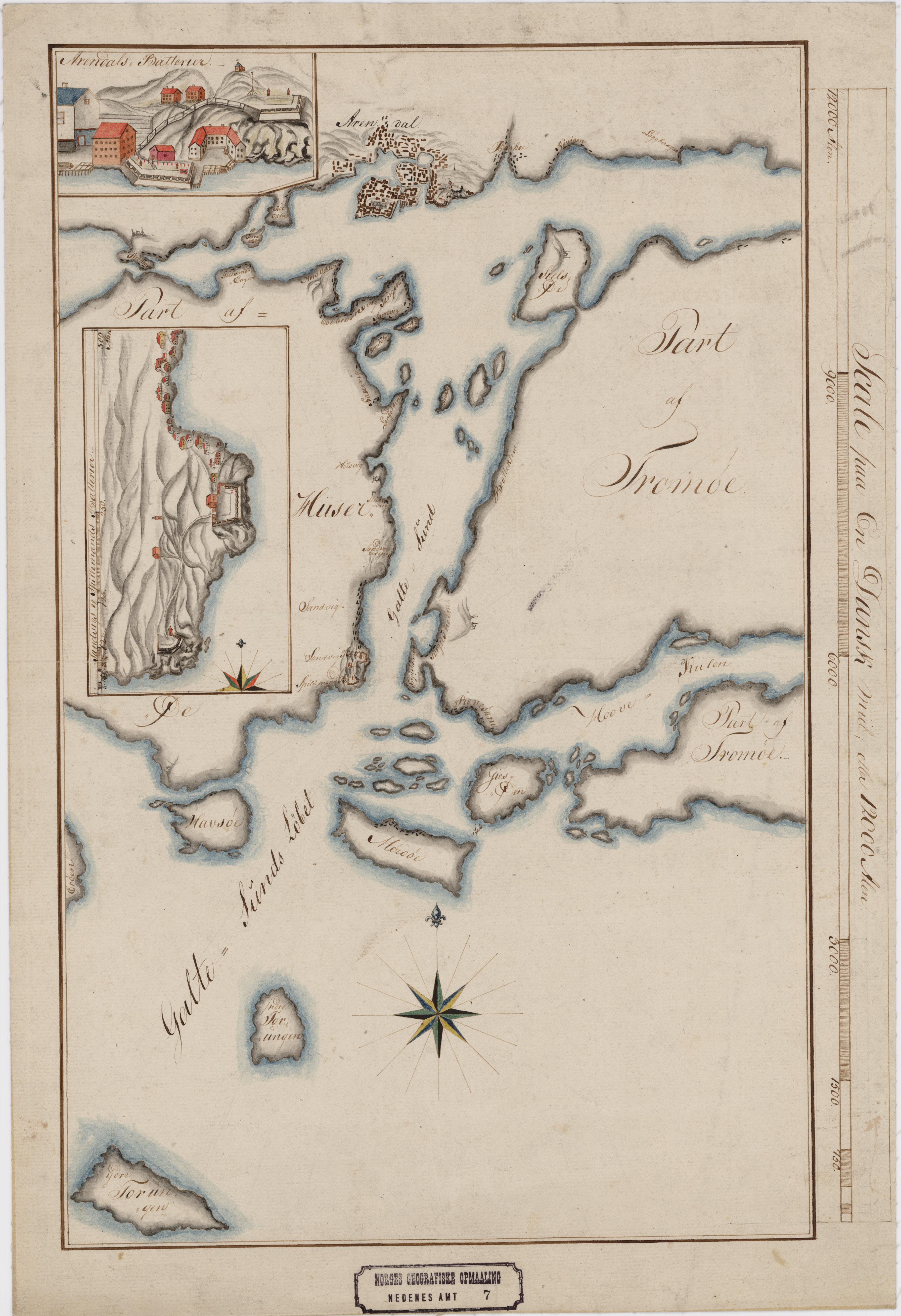kart til File:Nedenes amt nr 7  Kart over Indløbet til Arendal, 1800.  kart til
