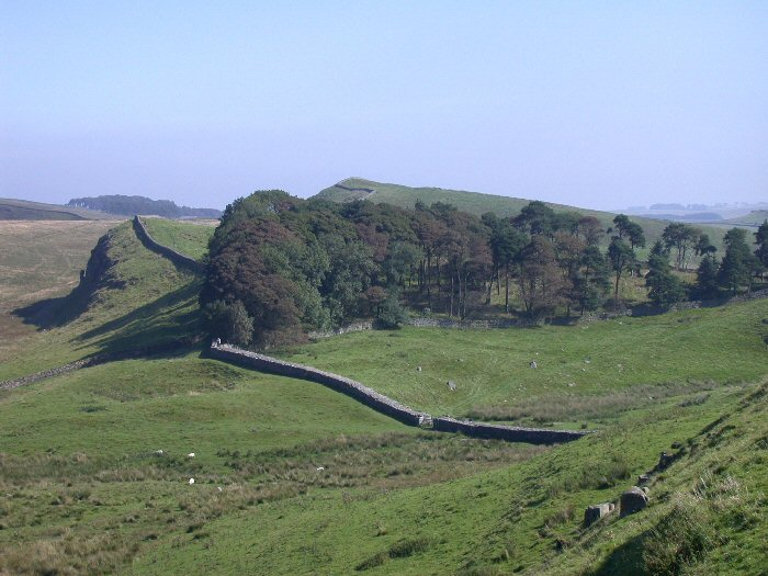 Northumberland National Park and a view of Hadrian's Wall.