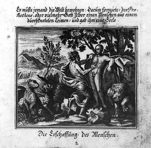 """""""Die Erschaffung des Menschen"""" aus einem Druck der Metamorphosen von 1676 mit Illustrationen von François Chauveau"""