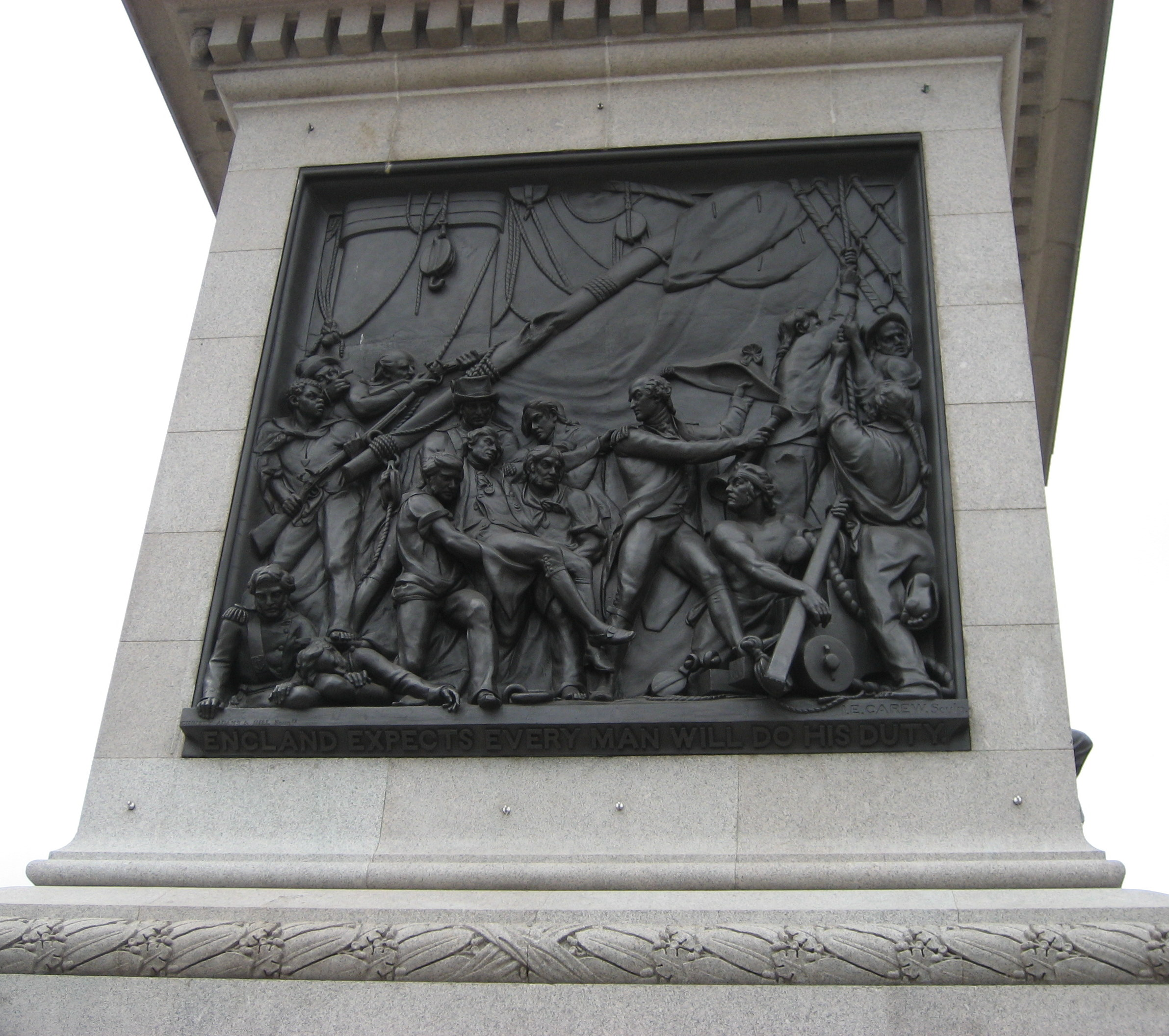 George Ryan, pictured in bas relief at the base of Nelson's Column, London
