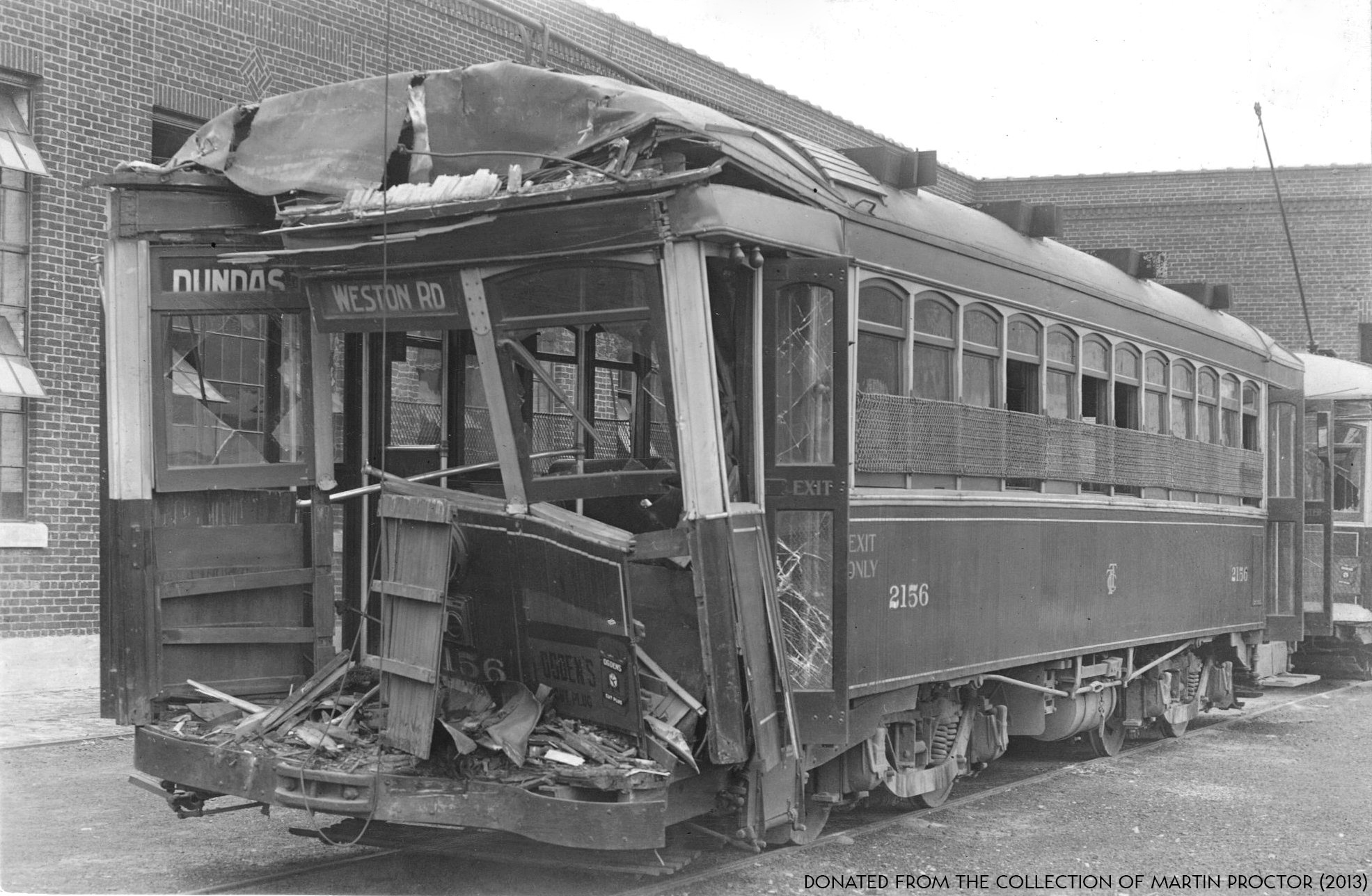 File:Peter Witt streetcar 2156, after crashing on the Weston Road route -a
