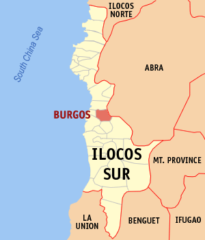 Map of Ilocos Sur showing the location of Burgos