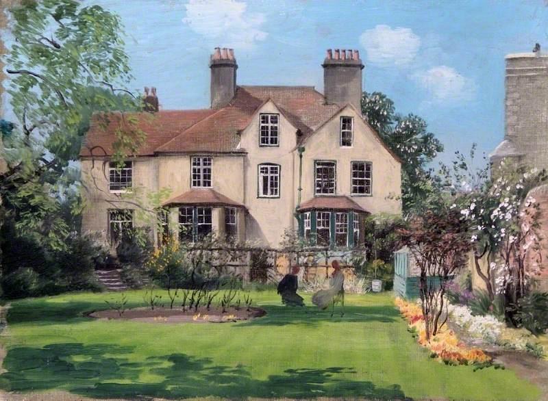 Rex Whistler - Two Ladies Taking Tea in the Vicarage Garden at Bierton, Buckinghamshire 1940