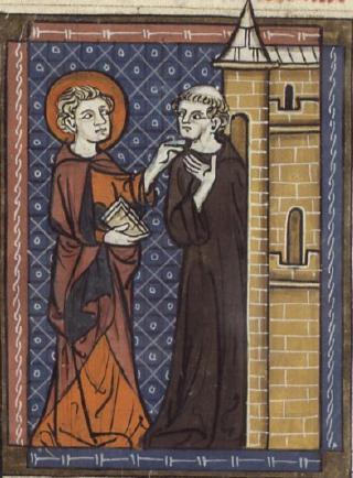 St Fursey og munken, manuskript fra 1300-t