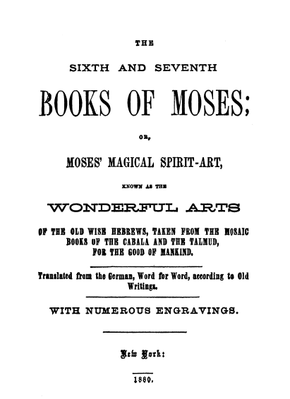 Sixth And Seventh Books Of Moses Wikipedia