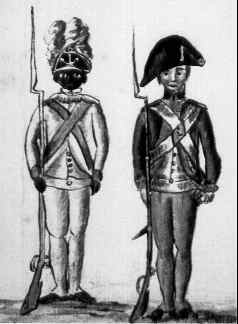 Continental soldiers at Yorktown. On the left, an African American soldier of the 1st Rhode Island Regiment.