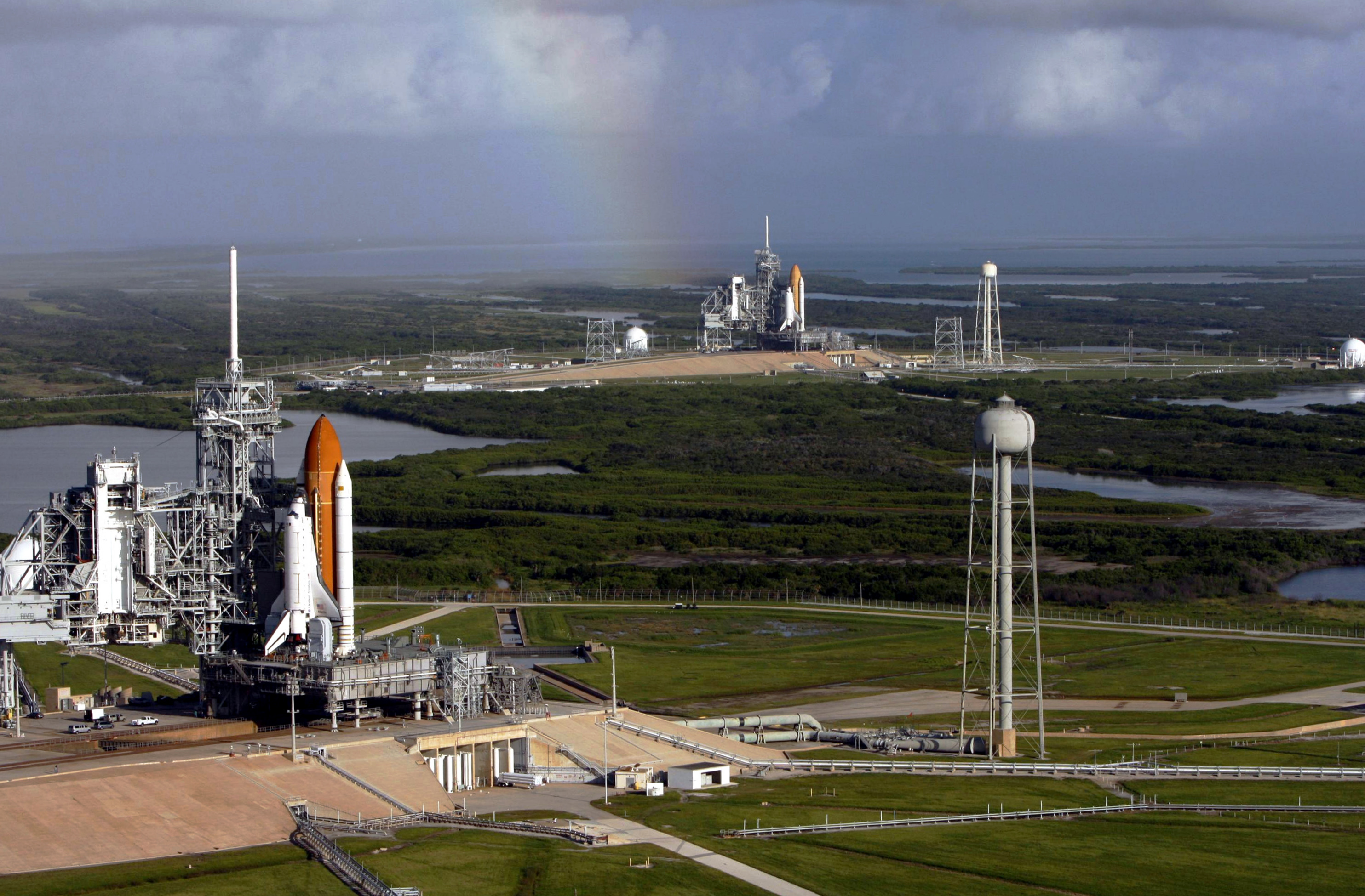 Two Space Shuttles Sit at