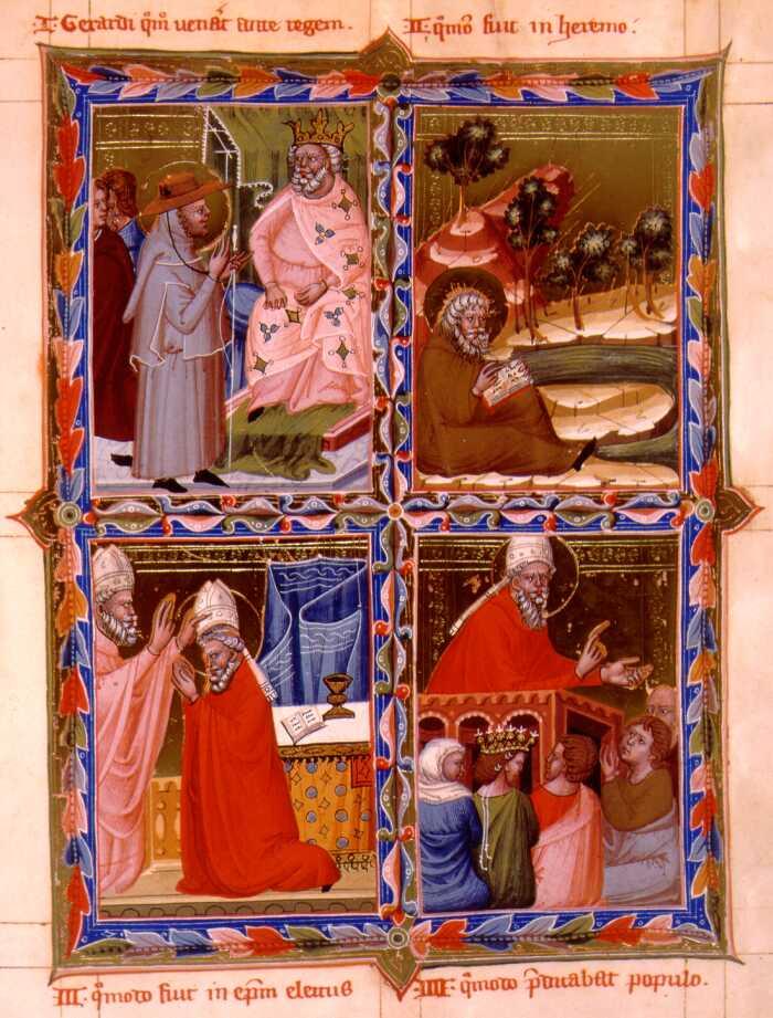 Legenden om St Gerhard Sagredo. 1) Gerhard og St Stefan av Ungarn. 2) Gerhard i hans eneboercelle. 3) Gerard bispevies. 4) Gerhard forkynner. Miniatyr fra et manuskript av Anjou-legendariet, Ungarn (1200-t)