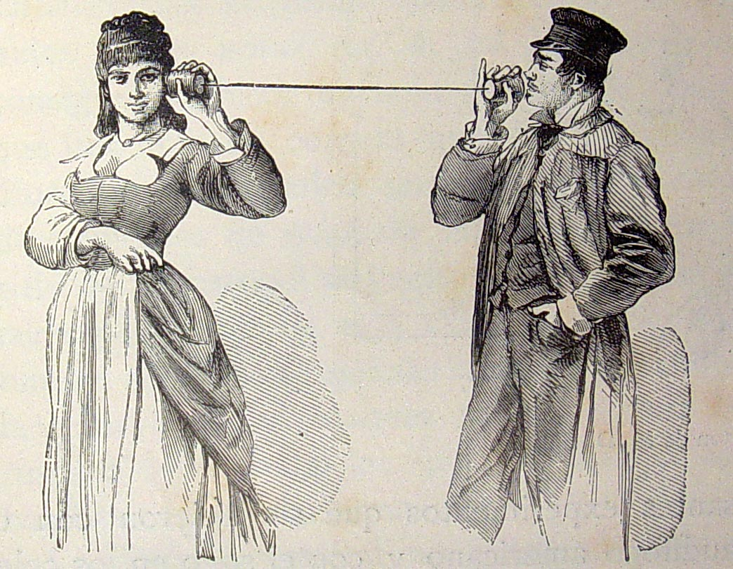 Spanish engraving, Teléfono de cordel, 1882
