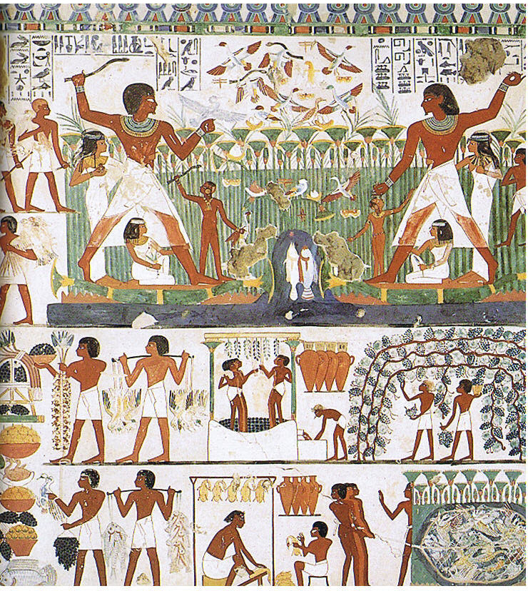 Egyptian art history old kingdom through assyria for Egyptian mural art