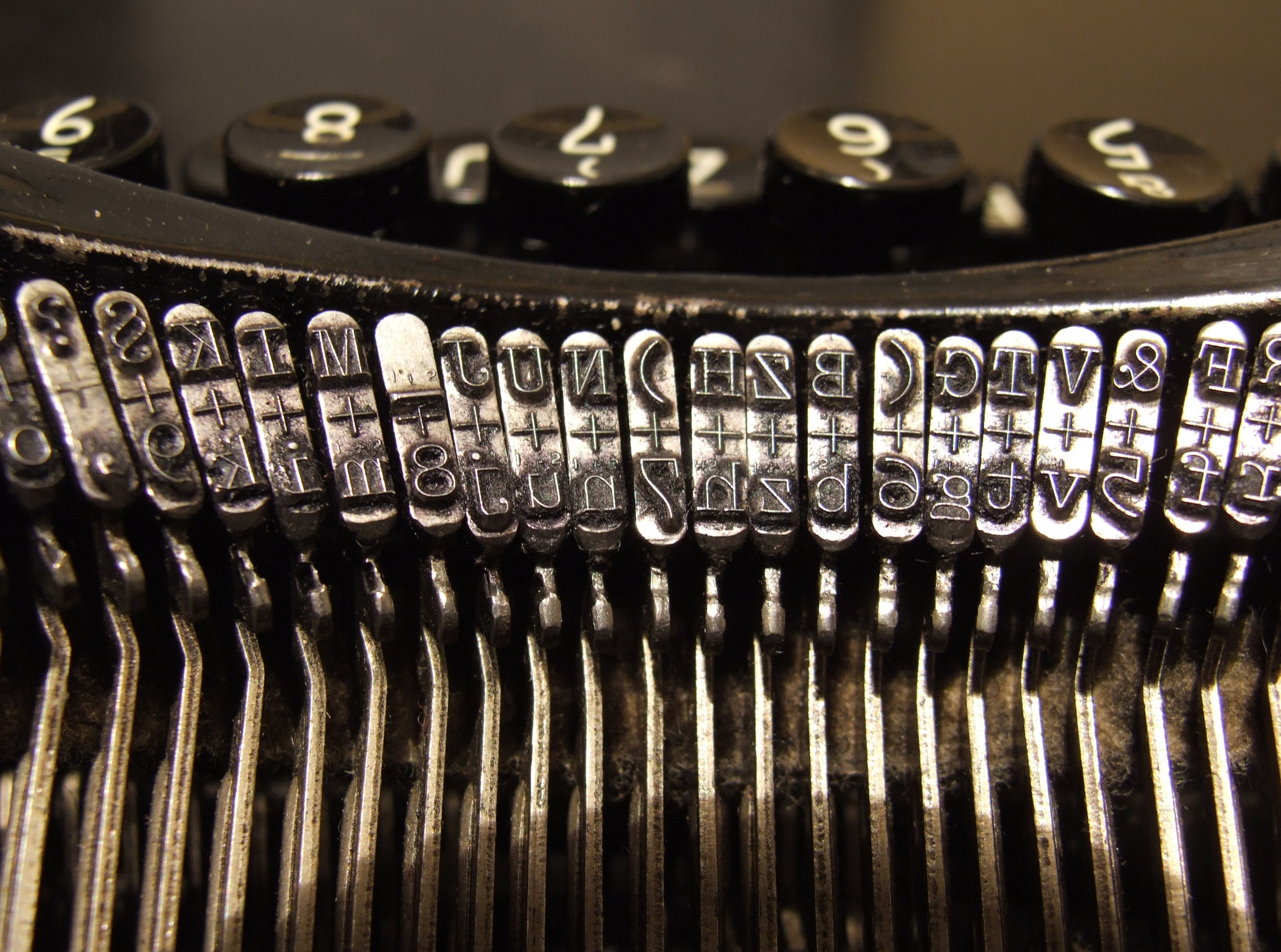 Typebars in a 1920s typewriter