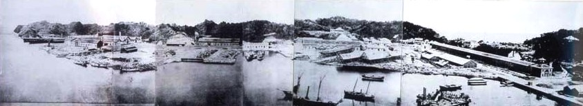 Construction de l'arsenal de Yokosuka vers 1870.