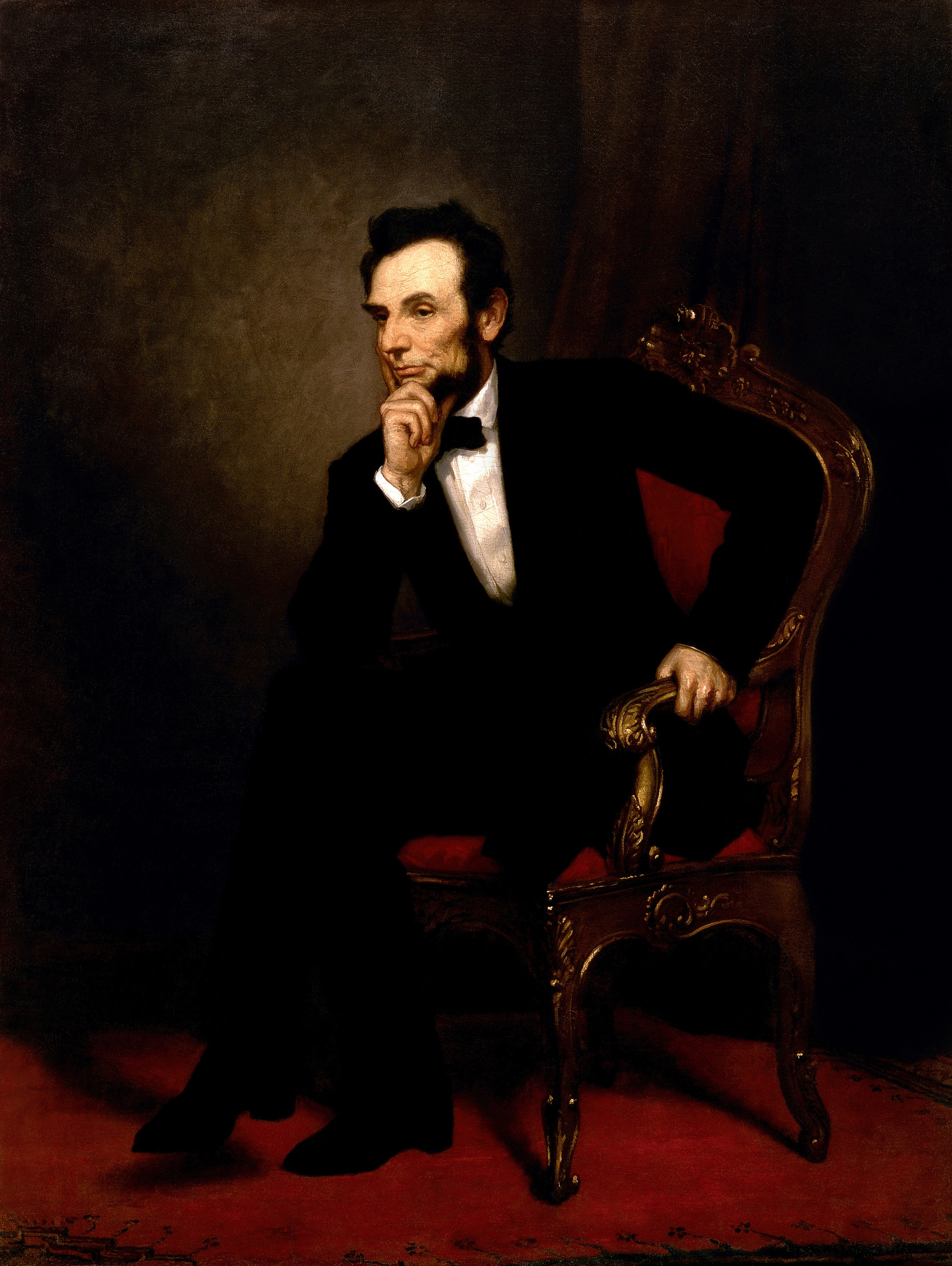abraham lincoln simple english the encyclopedia a painting of lincoln sitting his hand on his chin and his elbow on his