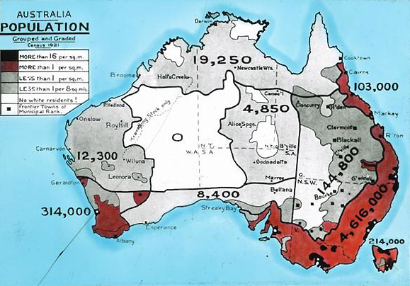 Lantern slide produced for the Australian Inland Mission based on the 1921 census. It shows the Australian population enumerated in the census graded for population density. AustralianCensus1921.jpg