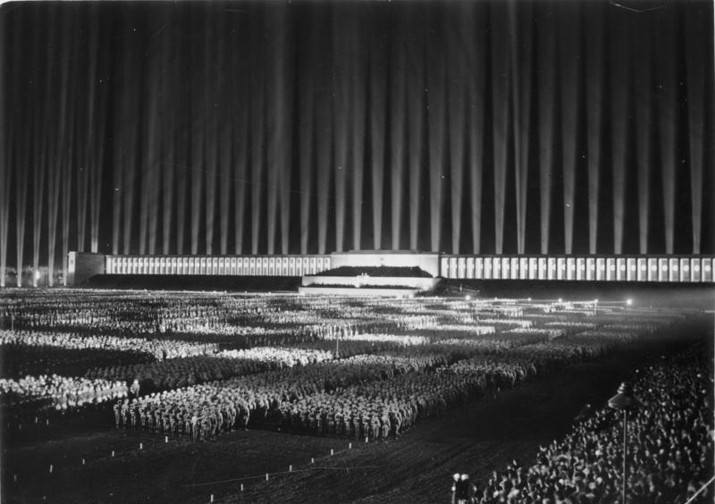 """""""Cathedral of Light"""", presentation at the Nazi Party in 1936."""