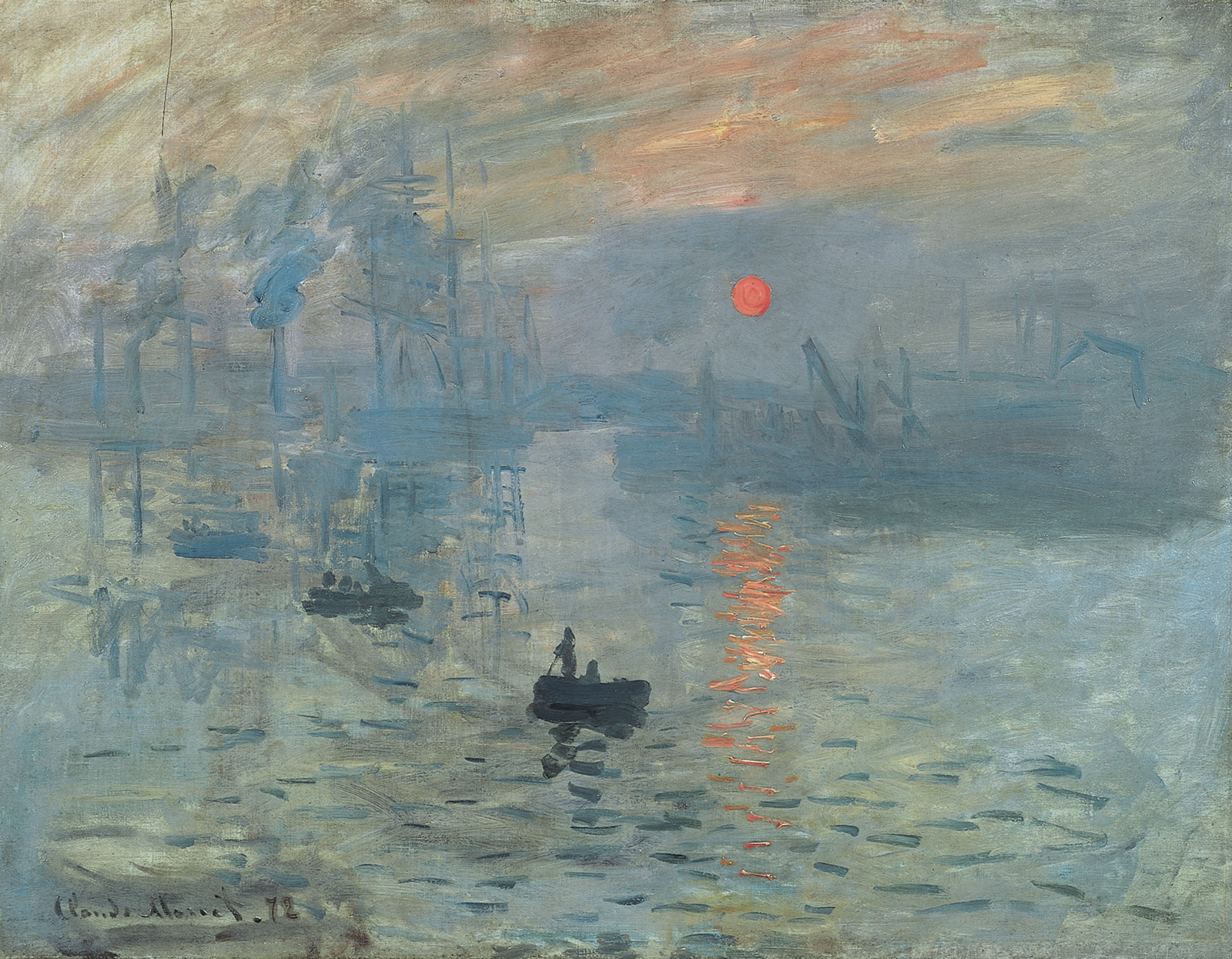 """Impression,"" Claude Monet,1872, Oil on canvas, shows a sunset/ sunrise scene. Washed out features of industry chimmenies emitting smoke and sail boat contours or shadow like features and before them, but still as a shadow but back lift by the setting or rising sun, are three paddle boats, seemingly paddling to shore or towards the viewer."