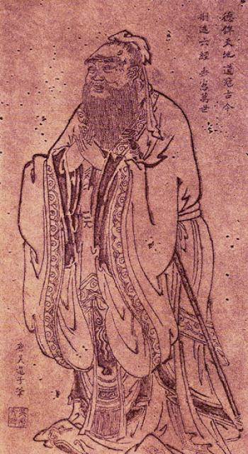 The teaching Confucius. Portrait by Wu Daozi, ...