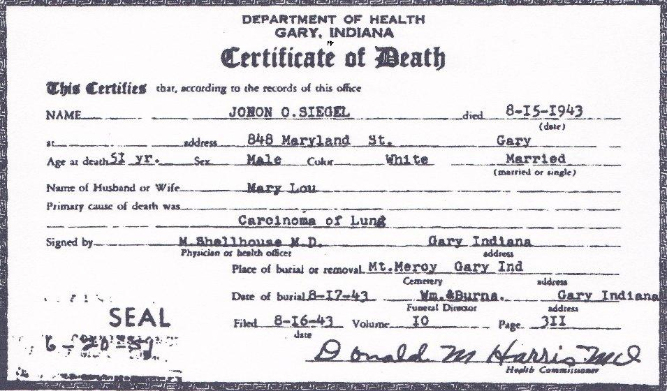 File Death Certificate Of John Otto Siegel Front View Jpg