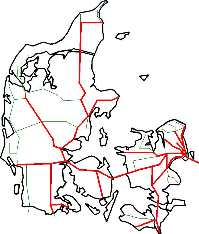 A to B Denmark - rail network