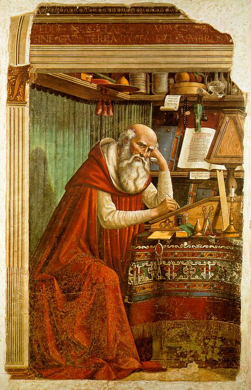 St. Jerome in His Study (1480), by Domenico Ghirlandaio. Although initially a student of Origen's teachings, Jerome turned against him during the First Origenist Crisis. He nonetheless remained influenced by Origen's teachings for his entire life. Domenico Ghirlandaio - St Jerome in his study.jpg