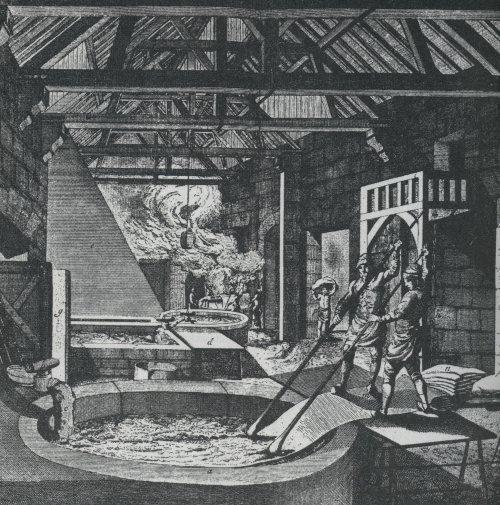 Rappresentazione dell'arte del tintore, antica stampa