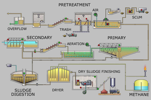 Simplified process flow diagram for a typical large-scale treatment plant