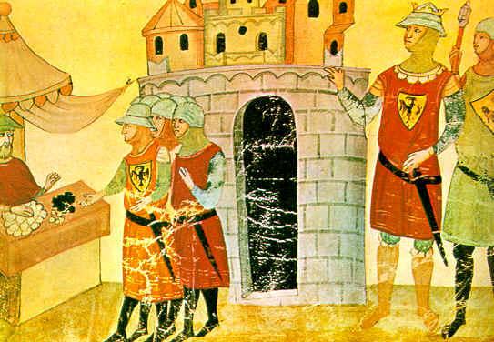 سربازان فردریک دوم دستمزد خود را در سکه های چرمی دریافت می کنند، (از Chigi Codex در کتابخانه واتیکان).
