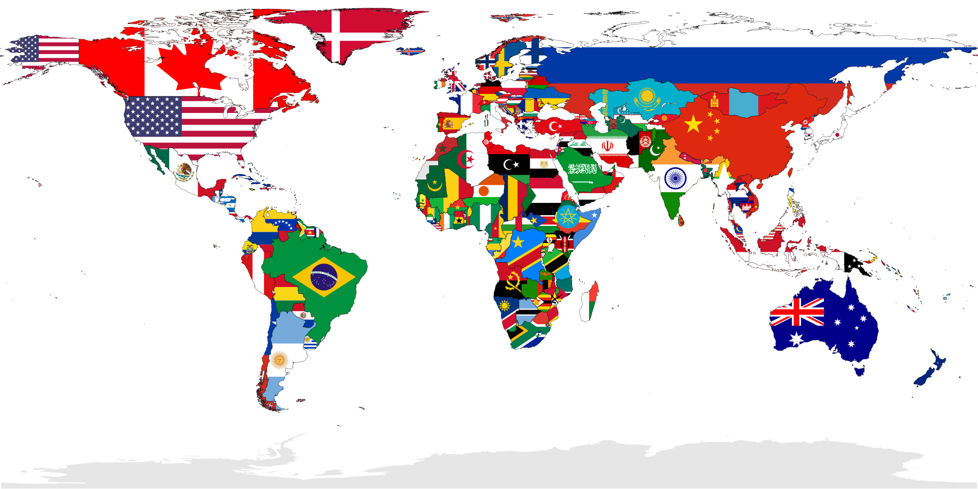 Flag-map of the world