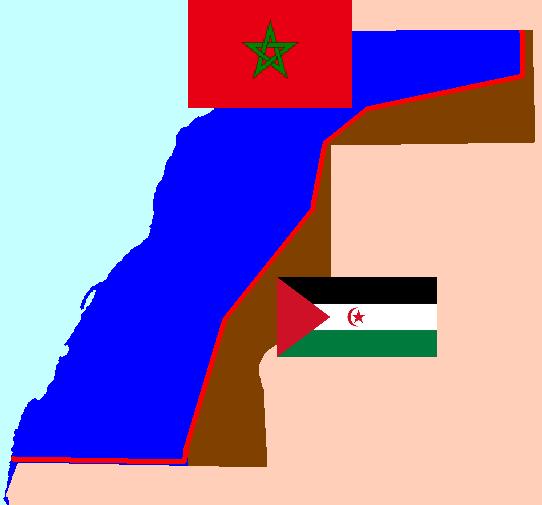 EL SAHARA, LA ULTIMA COLONIA DE ESPAÑA Flags_of_Morocco_and_the_SADR_over_Western_Sahara_map