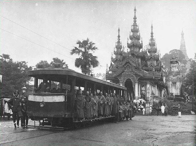 File:Free Yangon Tram Pass for Monks donated by the Muslim Sir Adamjee Haji Dawood.jpg