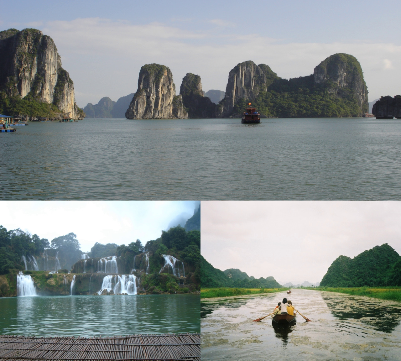 Nature attractions in Vietnam, clockwise from top: Ha Long Bay, Yen River and Ban-Gioc Waterfalls. Geography of Vietnam.jpg