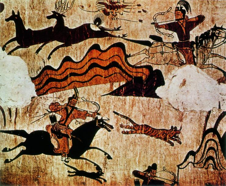 Hunting scene from the North wall of the main chamber of the Muyongchong Tomb (Tomb of the Dancers), (5th century CE), Ji'an. Goguryeo tomb mural.jpg