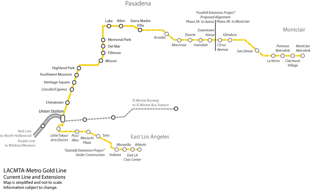 Metro Gold Line Extension Map Gold Line Foothill Extension   Wikipedia