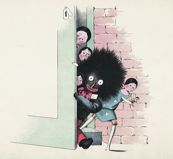 "Illustrator Florence Kate Upton's Golliwogg and friends from The Adventures of two Dutch Dolls And A Golliwogg, in which he was described as ""a horrid sight, the blackest gnome""."