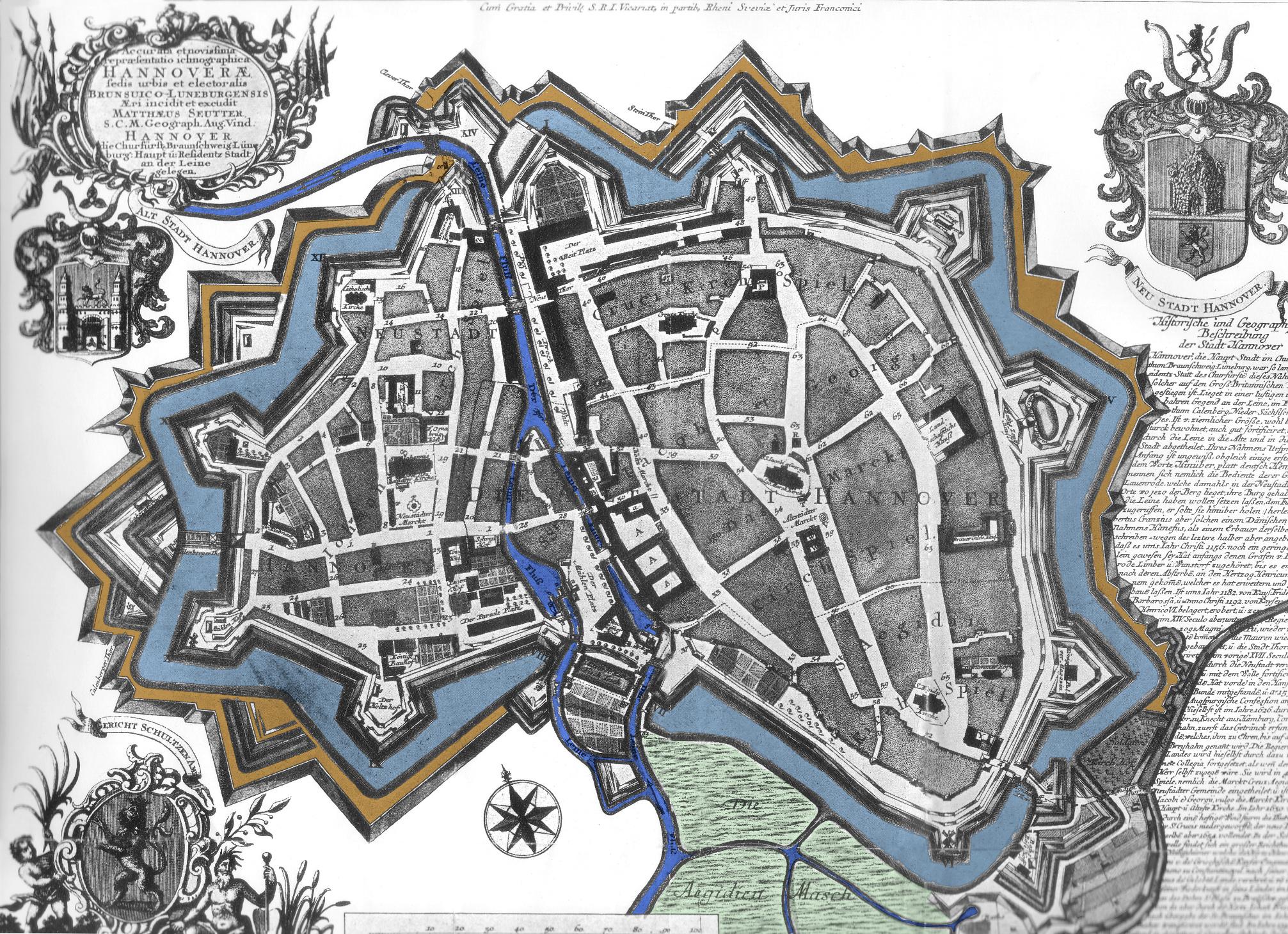 Hannover 1745 als sternförmige Festungsstadt mit Schanzen, Bastionen und Wassergräben. Westlich der Leine liegt die einbezogene Calenberger Neustadt.