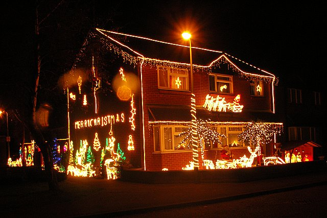 File house decorated with christmas lights at moreton hall Holiday decorated homes