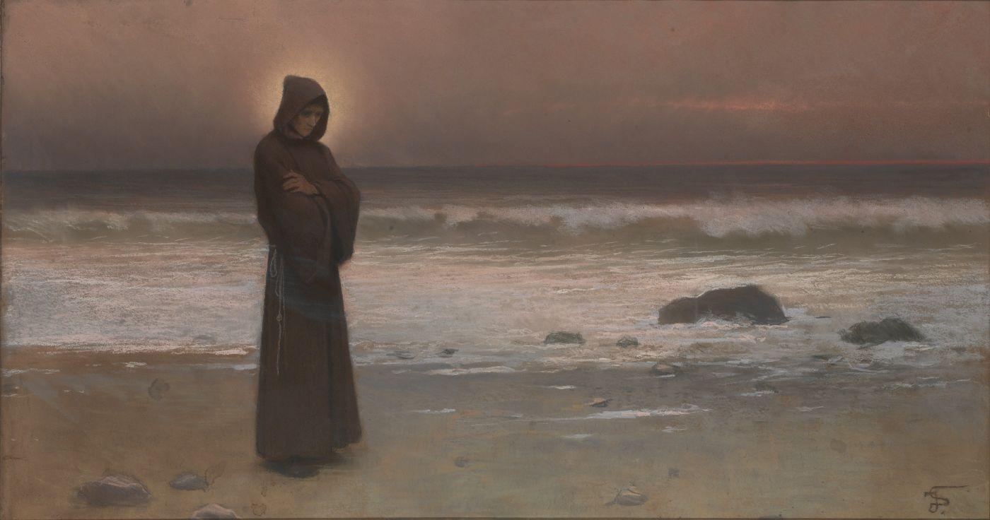 Jakub Schikaneder - Kontemplace, Mnich na mořském břehu (pastel na papíře).jpg