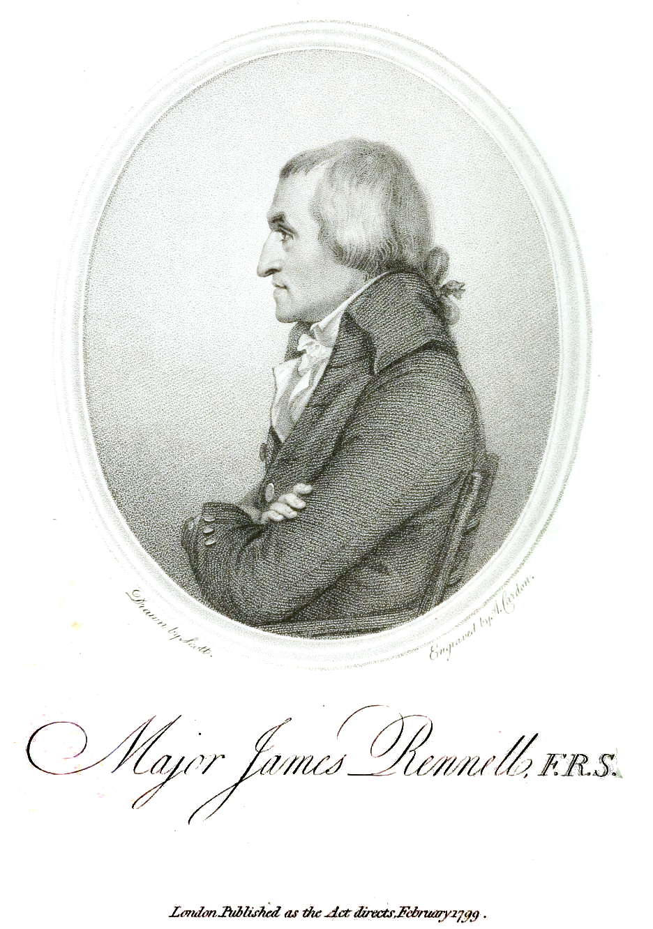 Profile engraving of James Rennell (1799)