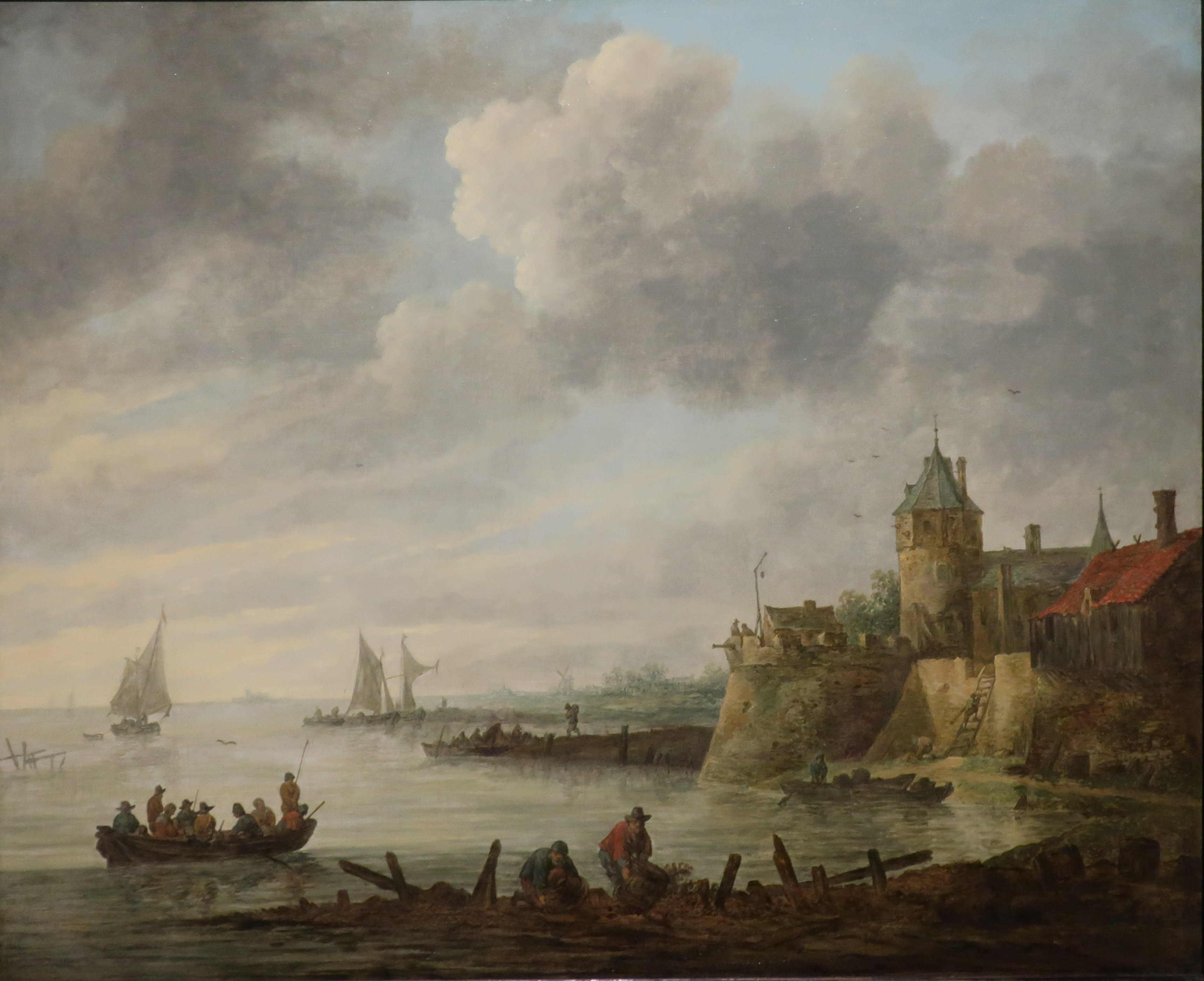 File:Jan van Goyen - 'River Scene with a Fortified Shore ...
