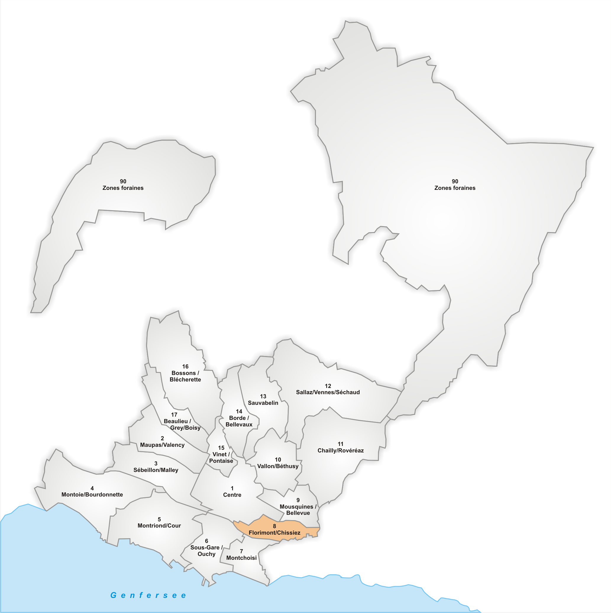 Lage des Stadtteils Florimont/Chissiez