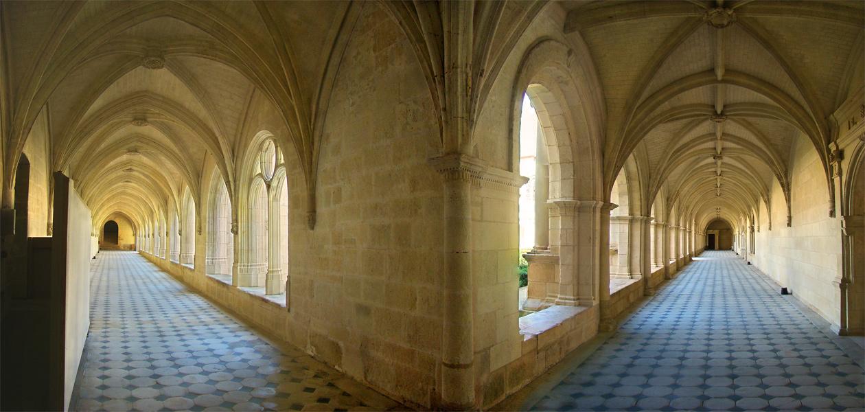 Fontevraud Abbey, Maine-et-Loire, Pays de la Loire, France. The cloister galleries.