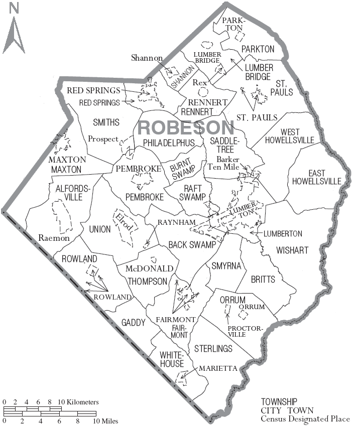File:Map of Robeson County North Carolina With Municipal androbeson county
