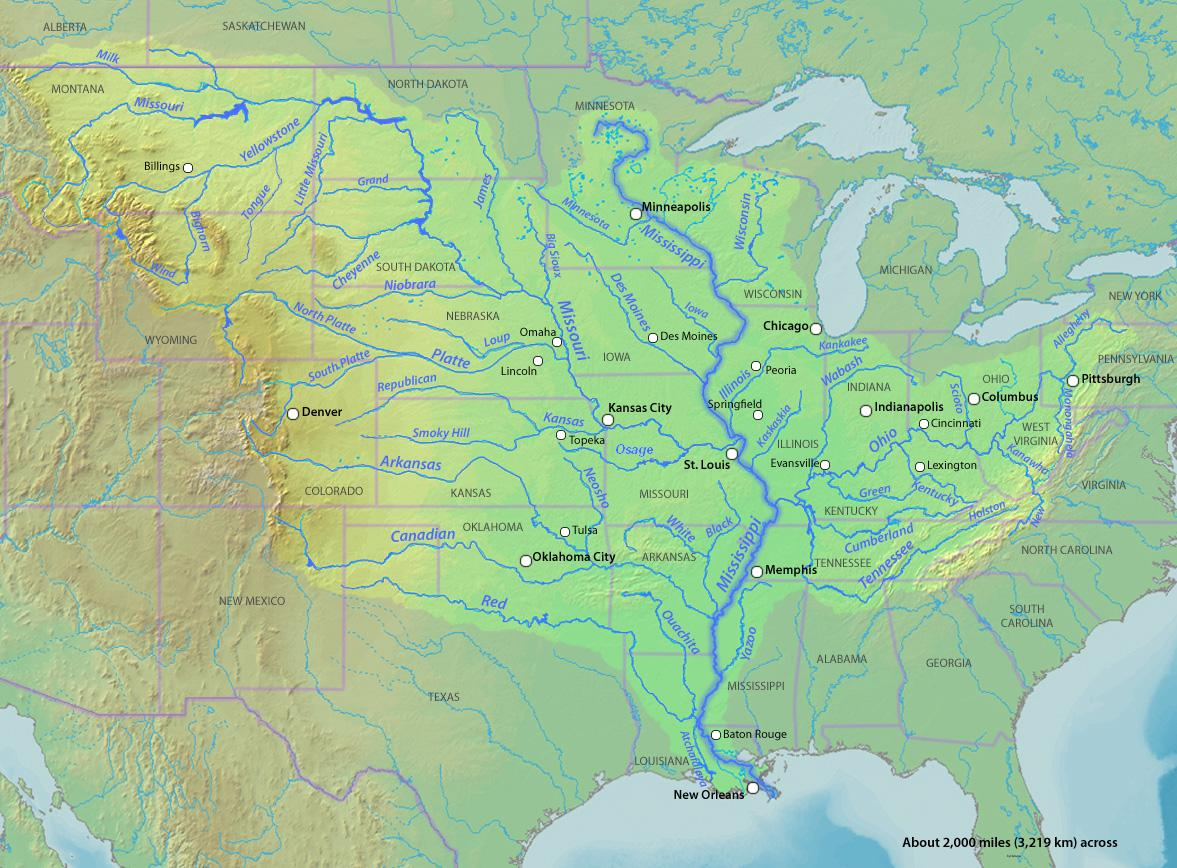 Map of the new representation of the Mississippi River. (Image from DEMIS Mapserver via Wikimedia Commons.)